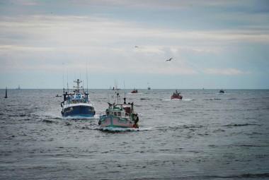 Le Guivinec, port de pêche dans le Finistère (29). Arrivée des bateaux de pêche.